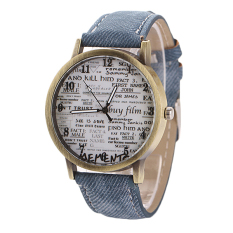 Sanwood Men's Women's Retro Denim Strap Casual Quartz Wrist Watch Blue (Intl)