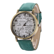 Sanwood Men's Women's Retro Denim Strap Casual Quartz Wrist Watch Green (Intl)