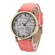Sanwood Men's Women's Retro Denim Strap Casual Quartz Wrist Watch Pink (Intl)