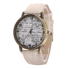 Sanwood Men's Women's Retro Denim Strap Casual Quartz Wrist Watch White (Intl)