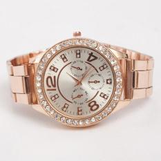 Bluelans Men's Women's Alloy Rhinestones Quartz Analog Wrist Watch Rose Gold (Intl)