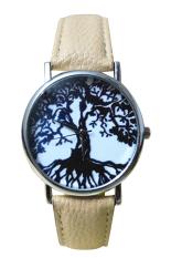 Bluelans Men's Women's Life Tree Faux Leather Analog Quartz Watch Beige