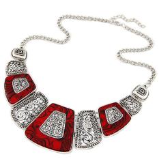 Bluelans® ringkas wanita kipas bentuk paduan rantai kalung antik kalung leher pendek Perak + Merah
