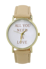 Sanwood Women's Men's Faux Leather Dial Analog Quartz Wrist Watch Beige