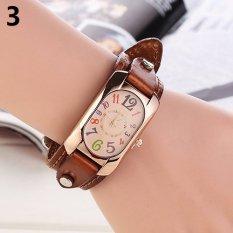 Bluelans® wanita Imitasi Kulit Strap jam tangan berbentuk persegi panjang kasus kuarsa - Coklat