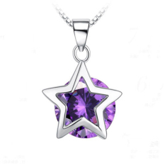 Bluelans Women 925 Sterling Silver Plated Cubic Zirconia Star Crystal Pendant Necklace (Intl)