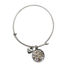 Bluelans Women Jewelry Love Heart Tree Of Life Pendant Bracelet Charm Bangle Antique Silver