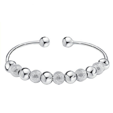 Bluelans Women's 925 Sterling Silver Plated Open Hand Cuff Bangle 9 Lucky Bracelet