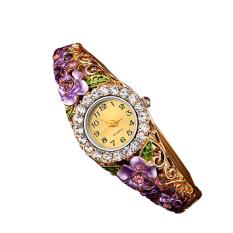 Sanwood Women's Flower Crystal Hollow Bangle Quartz Watch Jewelry Purple (Intl)