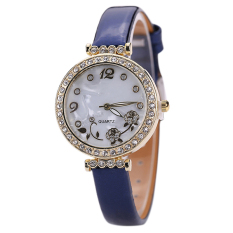 Bluelans Women's Flower Rhinestone Faux Leather Strap Quartz Wristwatch Blue (Intl)