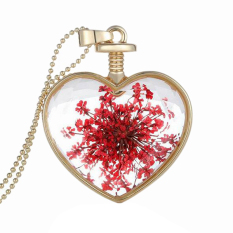 Bluelans Women's Heart Charm Dried Flower Pendant Chain Necklace Xmas Gift Red