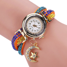 Bluelans Women's Moon Star Rhinestone Faux Leather Wrap Bracelet Watch Orange (Intl)