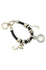 Sanwood Women's Rhinestone Charm Faux Leather Braided Bracelet Watch Black