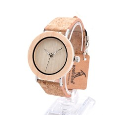 BOBOBIRD Arrival Bamboo Wood Men Watches With Mental Quartz Watches Real Leather Band Janpanese Movement In Gift Box - intl