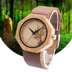 BOBOBIRD Natural Bamboo Wood With Deer Head Dial Leather Luxury Wood Watch as Gifts(Brown)