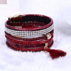 Bohemian Braided PU Leather Bracelet Rhinestone Cuff Magnetic Clasp Wrap Bangle - Intl