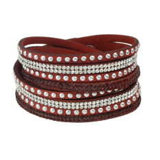 Bohemian Style Multilayers Red Pu Leather Rhinestone Wrap Bracelet (Intl)