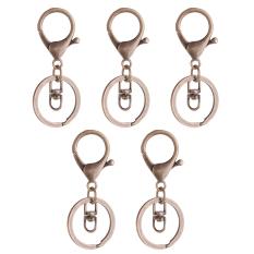 BolehDeals 5x Bronze Lobster Clasp Trigger Clip Key Ring Bag Charms + Split Ring 65mm