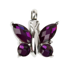 BolehDeals Butterfly Rhinestone Cremation Keepsake Memorial Ash Urn Pendant Necklace