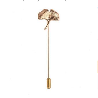 BolehDeals Vintage Gingko Leaf Kerah Jas Dasi Topi Tongkat Pin Bros Peniti Jilbab Emas