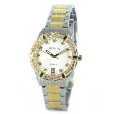 Bonia - Jam Tangan Wanita - Silver Komb Gold-Putih Ring Diamond - Stainless Steel - BNB10308-2117S