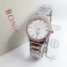 Bonia Rosso - Jam Tangan Wanita - Silver Komb Gold - Ring Gold - Stainless Steel - BN2612(Bulat)