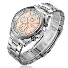BOSCK Men's Waterproof Strip Three Rappel Gifts Business Waterproof Quartz Watches (Silver / White)