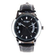 Brand EYKI W8408G Watch Strap Waterproof 10M Leather Stainless Steel Casual Wristwatch Calendar Quartz Watch Free Shipping (Intl)