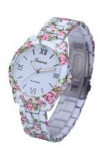 Brand Floral Rose Flower Printing Geneva Watch Rubberized Coated Ladies Quartz Watch