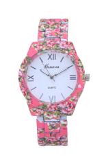 Brand Floral Rose Flower Printing Geneva Watch Rubberized Coated Ladies Quartz Watch (Intl)