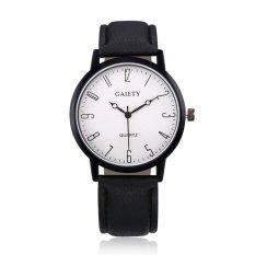 Brand lady Casual fashion crack quartz watch leather strap(black) - intl