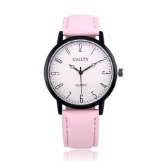 Brand lady Casual fashion crack quartz watch leather strap(pink) - intl