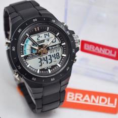 Brandli Dual Time Jam Tangan Sport Pria Rubber Strap BR1729 Hitam .