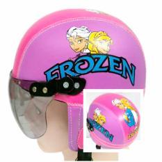 Broco Helm Anak anak broco retro kaca riben lucu usia 1 sampai 4 tahun Motif Frozen - Pink/Ungu muda