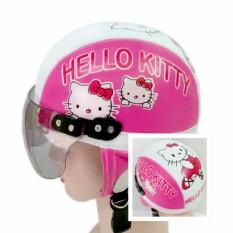 Broco Helm Anak anak broco retro kaca riben lucu usia 1 sampai 4 tahun Motif Hello Kitty - Pink/Putih