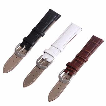 Buy 1 Get 3 Twinklenorth 18mm Black Brown White Genuine Leather Watch Strap Band - intl