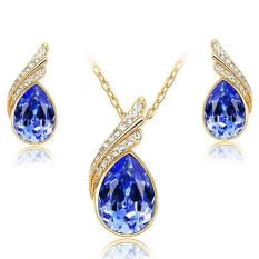 BUYINCOINS Angel Wing Crystal Pendant Necklace Earrings Set Fashion Wedding Jewelry Women