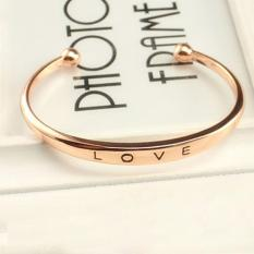 BUYINCOINS Fashion Women Gold Silver Plated LOVE Bracelet Jewelry Charm Cuff Bangle Gift Rose Gold (Intl)