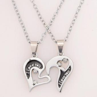 BUYINCOINS Men Women Lover Couple I Love You Heart Pendant Stainless Steel Chain Necklace