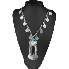 BUYINCOINS Women Fashion Bohemian Gypsy Boho Silver Coin Long Chain Tassel Pendant Necklace (Intl)