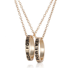 Buytra Best Friend Forever Ring Pendant Necklace Friendship Letters Necklace Gold
