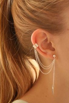 Buytra Girl Earring Leaf Chain Tassel Dangle Silver