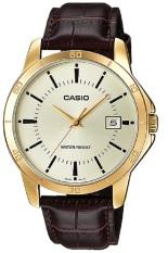 Casio Analog Watch - Jam Tangan Pria - Cokelat Gold - Strap Kulit - MTP-V004GL-9AUDF