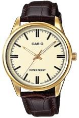 Casio Analog Watch - Jam Tangan Pria - Gold Cokelat - Strap Kulit - MTP-V005GL-9AUDF
