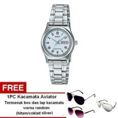 Casio Analog Watch - Jam Tangan Wanita - Silver - Stainless Steel - LTP-V006D-2BUDF + Free Kacamata Aviator Termasuk Kotak Kacamata Dan Lap Kacamata