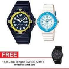 Casio Couple Watch Jam Tangan Couple - Biru - Strap Karet - Sporty Couple -MRW200HC-2BV + Gratis Swiss Army Canvas Band Termasuk Kotak Jam