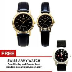 Casio Couple Watch Jam Tangan Couple - Hitam Gold - Strap Leather - Casual Watch - 1095Q-1A + Gratis Swiss Army Watch - Warna Random