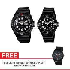Casio Couple Watch Jam Tangan Couple - Hitam - Strap Karet - Sporty Couple + Gratis Swiss Army Watch