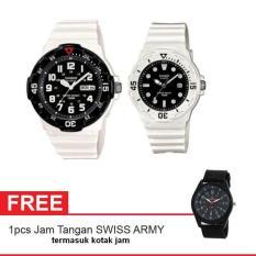 Casio Couple Watch Jam Tangan Couple - Putih - Strap Karet - Sporty Couple + Gratis Swiss Army Watch (One Size)