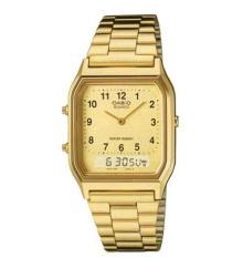 Casio Emas Aq230ga-9b Gold Analog Digital Fashion Style Mode Casual Formal